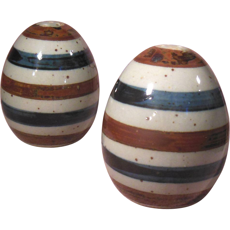 Striped pottery egg shaped salt and pepper shakers japan blue brown from pennycandyantiques on - Egg shaped salt and pepper shakers ...