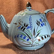 Pretty Sadler Medium Blue Swirl Teapot with Blue Bell flowers