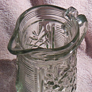 Beautiful Pattern Glass Syrup Pitcher
