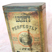 Early Advertising LeCroy�s Pepper Spice Tin or Can with Paper Label