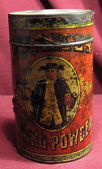Early Advertising Quaker Baking Powder Tin or Can with Paper Label