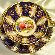Paragon Cabinet Tea Cup & Saucer ~ Lavish Gold & Fruit on Cobalt Blue