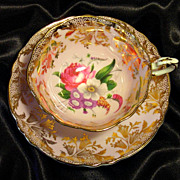 SOLD Paragon Cabinet Tea Cup & Saucer ~ Mixed Bouquet & Gold on Powder Pink
