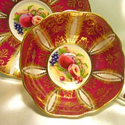 Paragon Cabinet Tea Cup & Saucer ~ Lavish Gold & Fruit on Ruby Red