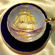 Aynsley Cabinet Tea Cup & Saucer ~ Schooner / Sailing Ship ~ Cobalt Blue