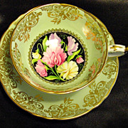 Paragon Cabinet Tea Cup & Saucer ~ Sweet Peas on Mint Green