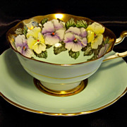 Paragon Cabinet Tea Cup & Saucer ~ Posh Pansies on Blue