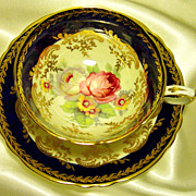Paragon Cabinet Tea Cup & Saucer ~  Cobalt Blue & Glorious Gold