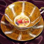 Paragon Cabinet Tea Cup & Saucer ~ Lavish Gold & Fruit ~ Goldenrod