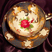 Paragon Cabinet Tea Cup & Saucer ~ Gold Renaissance & Ruby Rose on Teal