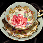 Paragon Cabinet Tea Cup & Saucer ~ Pink Rose & Gold Lace on Powder Blue