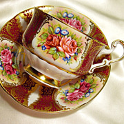 Paragon Cabinet Tea Cup & Saucer ~ Rose Cartouche on Cranberry