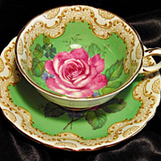 Paragon Cabinet Tea Cup & Saucer ~ Grand Pink Rose on Key Lime Green