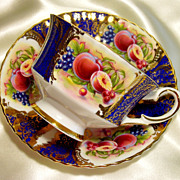 Paragon Cabinet Tea Cup & Saucer ~ Fruit Cartouche on Royal Blue