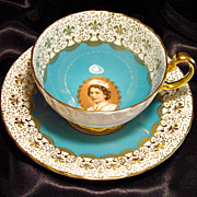 Aynsley Tea Cup & Saucer~ British Royalty ~ Queen Elizabeth II ~ Sepia Portrait ~ Turquoise Bl