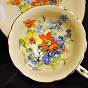 Paragon Tea Cup & Saucer ~ Spring Bouquet on Peach