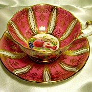 Paragon Cabinet Tea Cup & Saucer ~ Lavish Gold & Fruit  ~ Bubblegum Pink