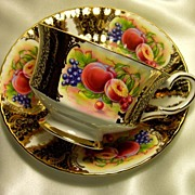 Paragon Cabinet Tea Cup & Saucer ~ Fruit Cartouche on Black