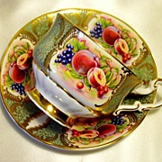 Paragon Cabinet Tea Cup & Saucer ~ Fruit Cartouche on Sage Green