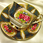 Paragon Cabinet Tea Cup & Saucer ~ Rose Cartouche on Teal