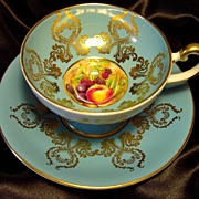Aynsley Pedestal Cabinet Tea Cup & Saucer ~ Orchard Fruit on Turquoise Blue
