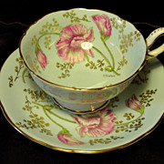 Coalport Cabinet Tea Cup & Saucer ~ Sweet Pea on Crystal Blue ~ P. Simpson