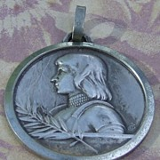 Vintage French silver plated big Joan of Arc medallion pendant