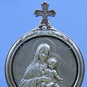 Vintage French silver plated Virgin Mary icon