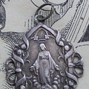 Antique silver C1880 virgin Mary christening pendant