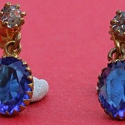 Antique French C1900 gold fill saphire & diamond paste screw back drop earrings