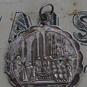 Antique French C1877 silver first communion medallion pendant