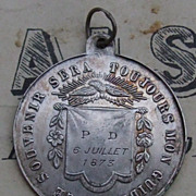 Antique French C1873 silver first communion medallion pendant
