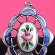 Antique vintage sterling silver Edwardian French guilloche enamel pendant