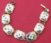 Vintage French gold fill enamel floral panel charm bracelet