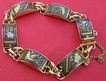 Vintage Spanish Toledo gold plated damascence panel bracelet