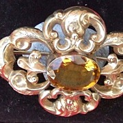 Antique Victorian Scottish 9ct repousse gold cairngorm pin brooch