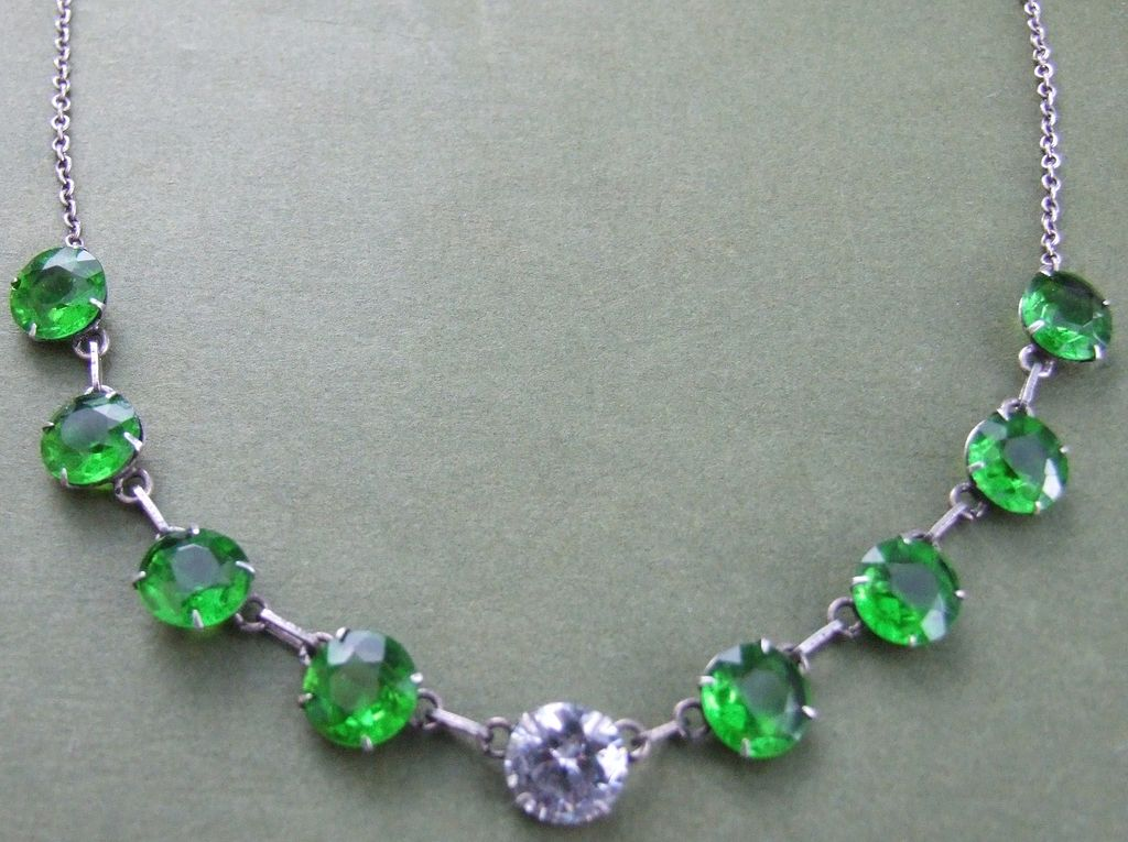 French Edwardian silver & emerald crystal open back necklace