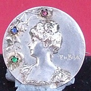Vintage French Art Nouveau silver plated rhinestone paste lady pin brooch P De Bryk