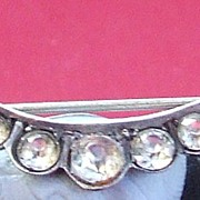 Antique French Victorian silver rhinestone past pin brooch
