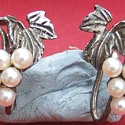 Antique English Edwardian sterling silver & faux pearl screwback earrings