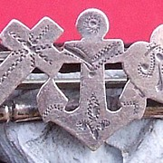 Antique Edwardian silver faith hope and charity pin