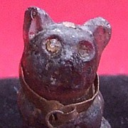 Antique Victorian Czech glass pug dog cracker charm