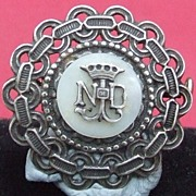 Antique French Edwardian silver plated MOP Notre Dame pin