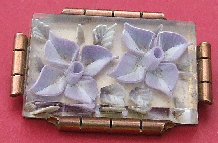 Art Deco French reverse carved lucite flower pin