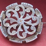 Antique victorian sterling silver Celtic pin brooch