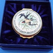 Halcyon Days; Bilston & Battersea Enamel Box-- Swallows -Boxed