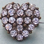 Antique VICTORIAN Circa 1880 rhinestone paste love heart pin
