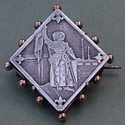 Antique French silver & 18kt gold Joan of Arc pin