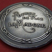 Vintage French silver plated advertising hand bag mirror