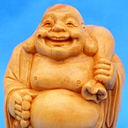 Travelling Laughing Buddha, Carved Boxwood Figurine